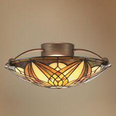 "Art Noveau 17"" Wide Semi- Flushmount Ceiling Light Fixture | LampsPlus.com"