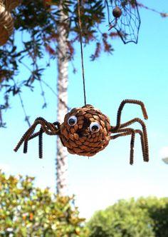 idea, halloween craft, spiders, pine cone, autumn craft, fall craft, digital cameras, cone spider, kid