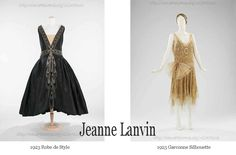Jeanne-Lanvin - Paris Designer The two popular silhouettes of the early 1920s – the 'robe de style' – and the emerging 'garconne' look.  At the start of the decade the couture designs from Paris drew mostly from historical lines, with nipped waists and billowing skirts – called Robe de Style ( a trend that was to be repeated in the 1950s). #Downton #Fashion #Era