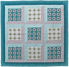 ~free pattern ~Spa Therapy by Ellen Maxwell for Michael Miller Fabrics.  These attic windows are made with four mitered strips instead of two