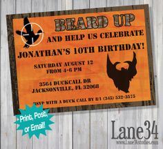 Invitation Printable DIY by Lane34Party, $8.00 duck dynasty birthday