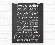 """Chalkboard printable poster """" Love one another, be grateful, say your prayers... """" inspirational poster in slate background -chp020- 8x10"""" on Etsy, $4.90"""