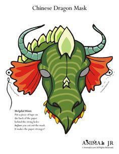 Chinese New Year Printable Craft: Dragon Animal Masks Printable Dragon Mask – Craft Jr.