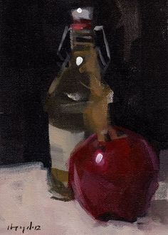 Original Painting Still Life Fruit Apple Red by lloydgallery, $45.00