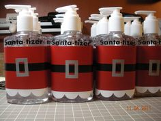 Great teacher gift!  Hand Santa-tizer - cute idea!
