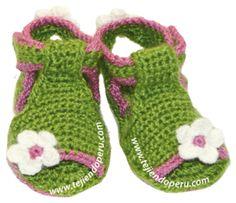 Tutorial: sandalias para bebes tejidas a crochet (crochet baby sandals tutorial)