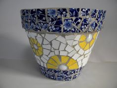 Blue China and Yellow Mosaic Pot by TheMosartStudio on Etsy, $35.00