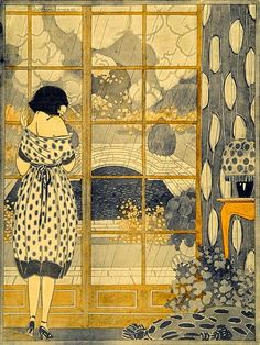 Waiting, Rain, and a bare shoulder by the window - can't find source to credit artist.