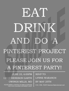 Pinterest Party Invitation by DesignsbyJamieIrene on Etsy.....  we have been talking about this...  what a fun  time