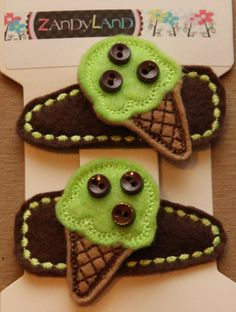 Set of two machine embroidered ice cream cone felt stitchies snap barrette hair clips.   http://www.etsy.com/listing/86388625/mint-chocolate-chip-ice-cream-cone-felt