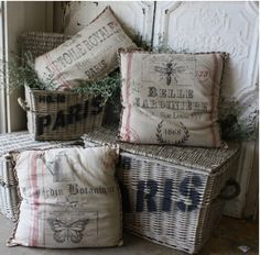 burlap, pillow, grain sack, rustic decor, basket, french country, chair cushions, feed sacks, linen