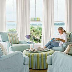 10 Beautiful Beach Cottages | Pastel Living Room | CoastalLiving.com