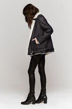 Rock 'n' Roll Style ☆ IRO Noma Shearling Coat In Anthracite | The Dreslyn