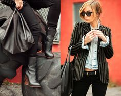 i love the blazer layered over the buttoned up denim jacket!
