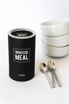 "halloween ideas... wrapping the oatmeal can and labeling ""monster meal"""
