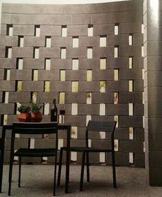 Cinder block garden or patio modern wall design
