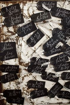 Escort Cards - Buy similar cards in my shop here: https://www.etsy.com/listing/90442257/chalkboard-embellishment-die-cut-tag
