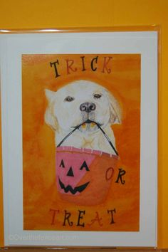 Labrador Halloween Card  Fine Art Print by overthefenceart on Etsy, $5.00