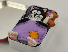 Miniature Toy Cat Plush Playset - Black and White Felt with Teddy Bear, Mattress, Blanket and Pillow in an Altoid Tin ( Mint )