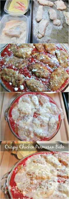COMFORT FOOD MUST!! Easy CRISPY Chicken Parmesan Bake!  #Italian #pasta #comfortfood #chicken