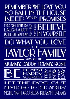 PERSONALISED FAMILY RULES, WAY OF LIFE, POSTERS. Ideal birthday, new home gift | eBay