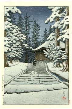 Hasui Japanese Woodblock Print, Temple  in the snow,1957