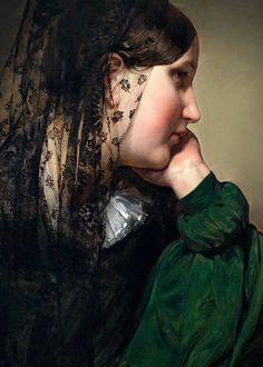 Friedrich von Amerling (1803-1887), Girl in profile, with black mantilla (detail), 1887