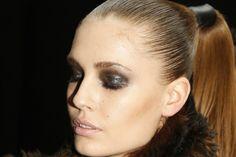 Inky eyes and nude lip at Donna Karan.