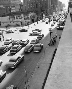 Some things never change: Rush-hour traffic crowds Dodge Street in Omaha, Nebraska, in June 1955. THE WORLD-HERALD