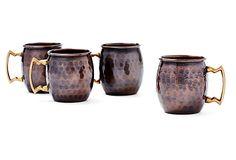 S/4 Antiqued Copper Shot Mugs on OneKingsLane.com