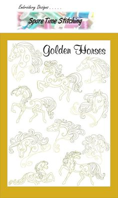 Digital Download Golden Horses Embroidery by SpareTimeStitching -- these would make nice #horse #tattoo #designs