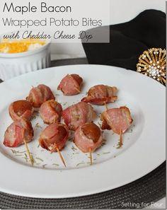Maple Bacon Potato Bites with Cheddar Cheese Sour Cream Dip #shop