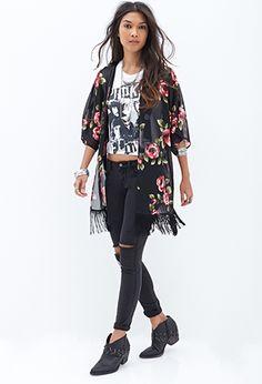 Rose & Fringe Kimono | FOREVER 21 - 2000119256