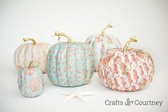 Mod podged coastal themed pumpkins...I'm in love!