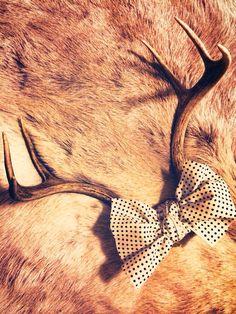 Deer antler decor. Just tie scrap fabric around the skull plate. Instant cuteness added!