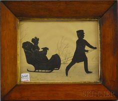 Framed Silhouette of a Boy Pulling a Sled, America, 19th century, cut and pasted silhouette and graphite and ink on paper, depicting a boy on skates pulling a sled with a girl and a dog, with bronze-colored highlights