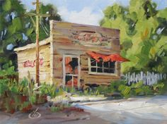 NOSTALGIA, AMERICANA, ABANDONED MOM N POP STORE, TOM BROWN ORIGINAL OIL PAINTING, painting by artist Tom Brown