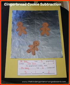 "Gingerbread man subtraction!  Students ""bake"" gingerbread men and then ""eat"" the cookies to practice subtraction!"
