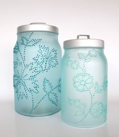 """""""Frost Painted Canisters"""" - This craft uses one of the new types of paint included in our Martha Stewart Crafts Glass Paint line. The Frost Translucent glass paints give your projects a """"sea glass"""" effect; it's a great way to frost your windows, Christmas ornaments, etc."""