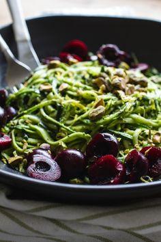 Pistachio Kale Pesto with Zucchini Noodles + Cherries