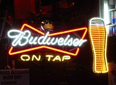 Budweiser On Tap Neon Beer Sign by wheeltoyz, via Flickr