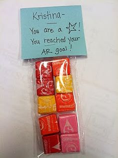 Cute class reward... message reads, You are a star... Baggy filled with starbusts!