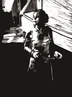 """Waiting"" linocut by Mark Rowden. http://www.wingedlionpress.com.au/ Tags: Female, Woman, Waitress, Waiter, Linocut, Cut, Print, Linoleum, Lino, Carving, Block, Woodcut, Helen Elstone."