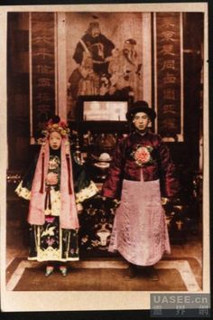 """This 1922 photo is said to show a ghost wedding.  The woman is supposedly a nǚ guǐ (女鬼), or ghost woman: a woman who died unmarried has no family and can't become an ancestor, so she returns and haunts. There's a simple solution to the nǚ guǐ hauntings, though: find a man and pay him to marry her.  These """"profound weddings"""" (冥婚) are an important function of the Dàoshi, and a kinder form of exorcism."""