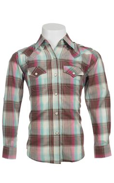 Wrangler® Girl's Brown, Turquoise & Pink Plaid Long Sleeve Western Shirt