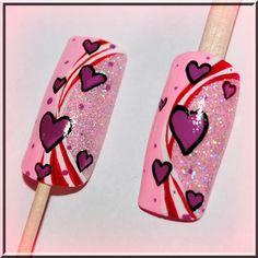 Candy swirl heart nails!