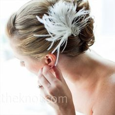 Jennifer made herself a barrette out of an ostrich feather and a rhinestone clip—both of which she found at a crafts store.