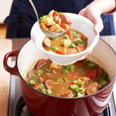food recip, chicken, sausages, green beans, yummi, sausag gumbo, soup recipes, mardi gras, green onions