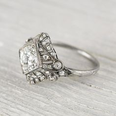 amazing detail  Vintage .97 Carat Art Deco Engagement Ring by ErstwhileJewelry, $8500.00