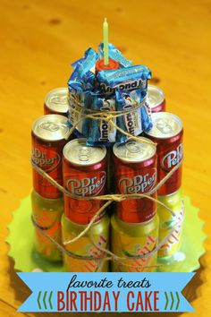 Favorite Treats Birthday Cake - made of soda and candy. LOVE it!